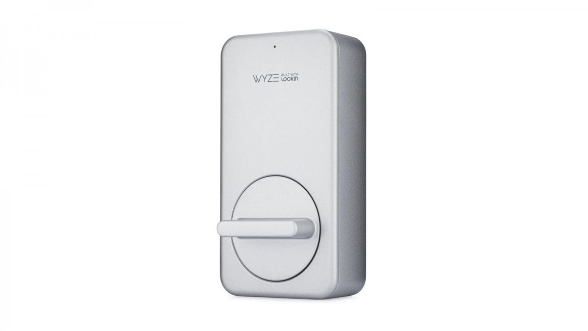 The Wyze Smart Lock with a thumb turn in a horizontal position.