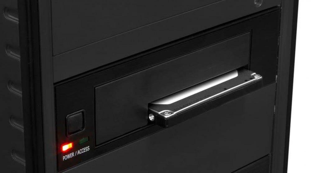 A full-size hard drive bay.
