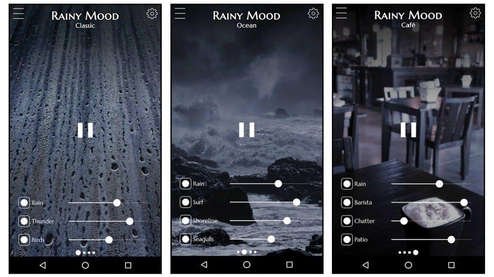 Rainy Mood pink noise rainfall sounds app
