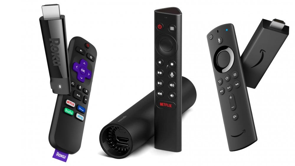 A photo of the streaming sticks Roku, NVIDIA Shield and Amazon Firestick.