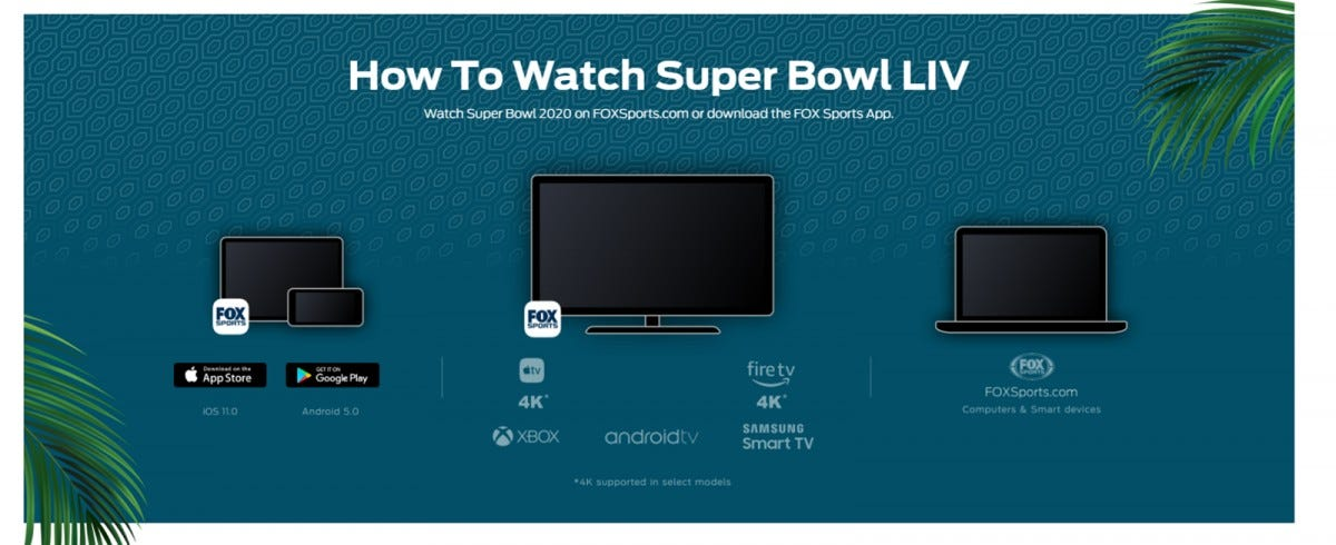 The Fox Sports website, listing various ways to watch the Super Bowl, Roku is not listed.