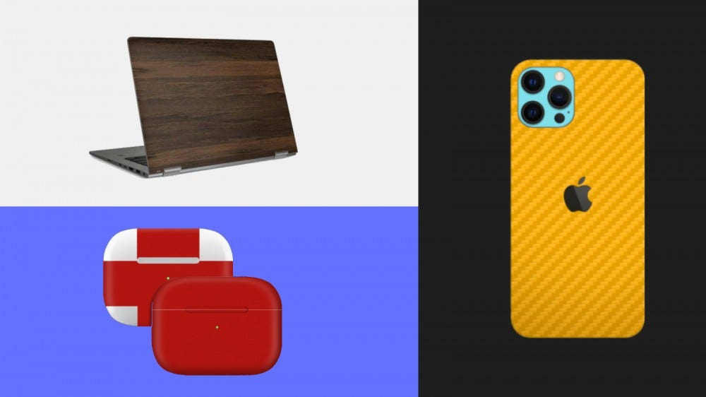 Wood-grain laptop skin, bright red Apple Airpods case skin, and orange carbon fiber iPhone 12 skin in a collage.