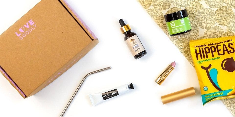 A selection of Love Goodly makeup products