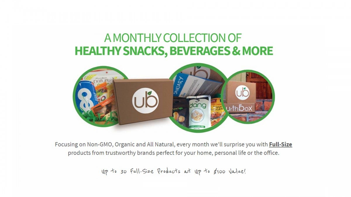 A screenshot of Urthbox's website showing some snacks that come with the Urthbox.