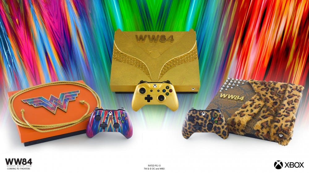 Three new colorful Wonder Woman 1984-inspired Xbox One X consoles against a colorful background