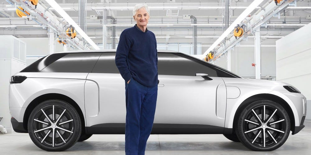 James Dyson and his prototype electric car.