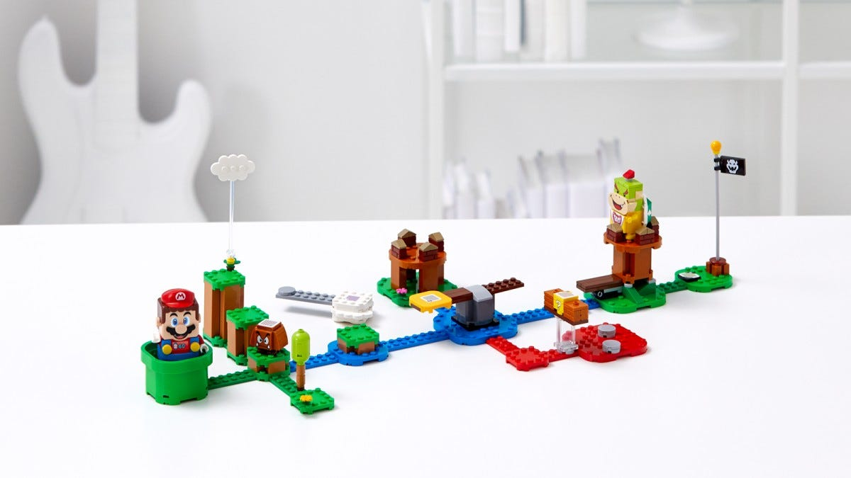 The LEGO Super Mario Starter course, with Mario and enemy figures.