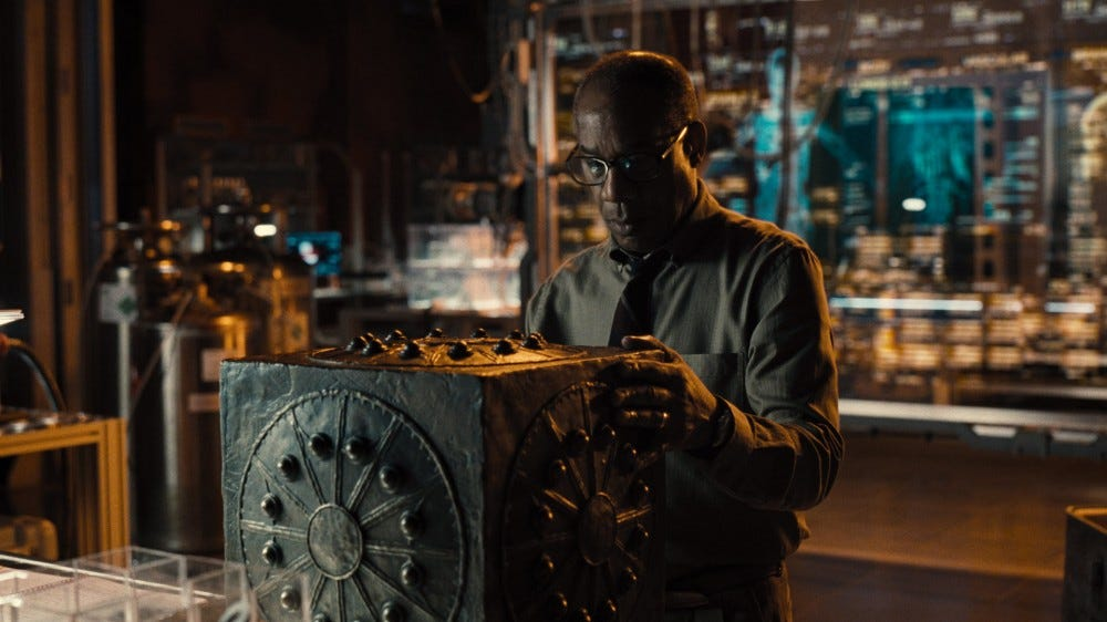 Silas Stone looking at a Mother Box