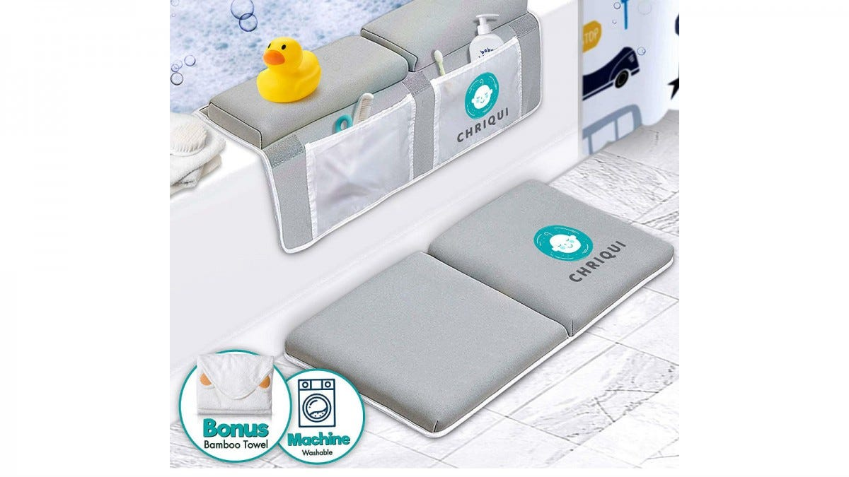 The Bath Kneeler with Elbow Rest Pad Set on a tub.