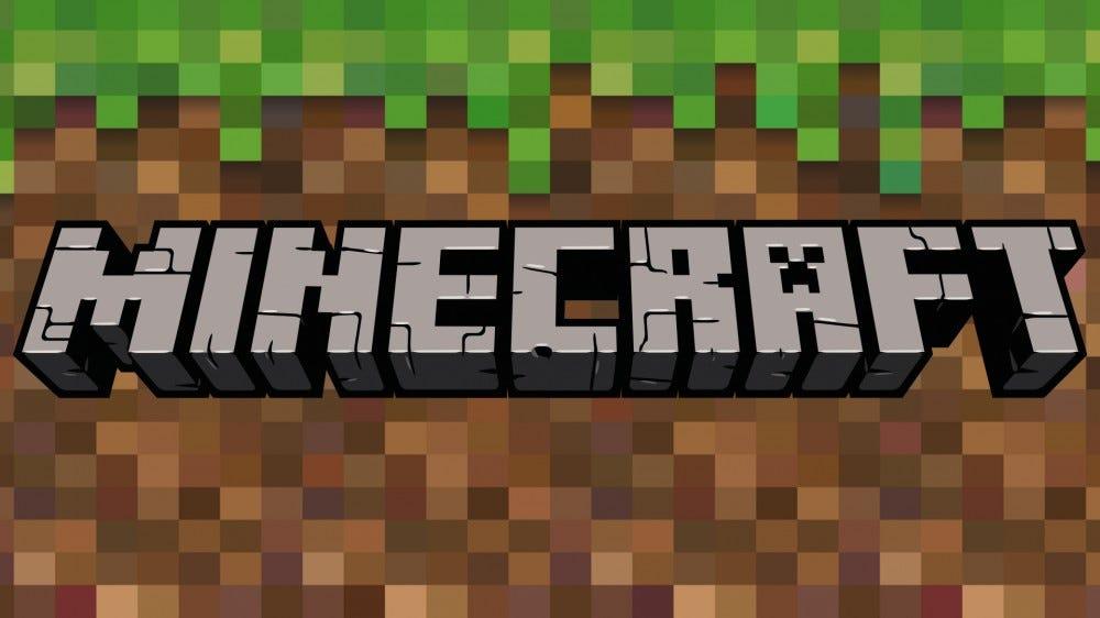 Minecraft logo over blocky Minecraft-style background of grass block