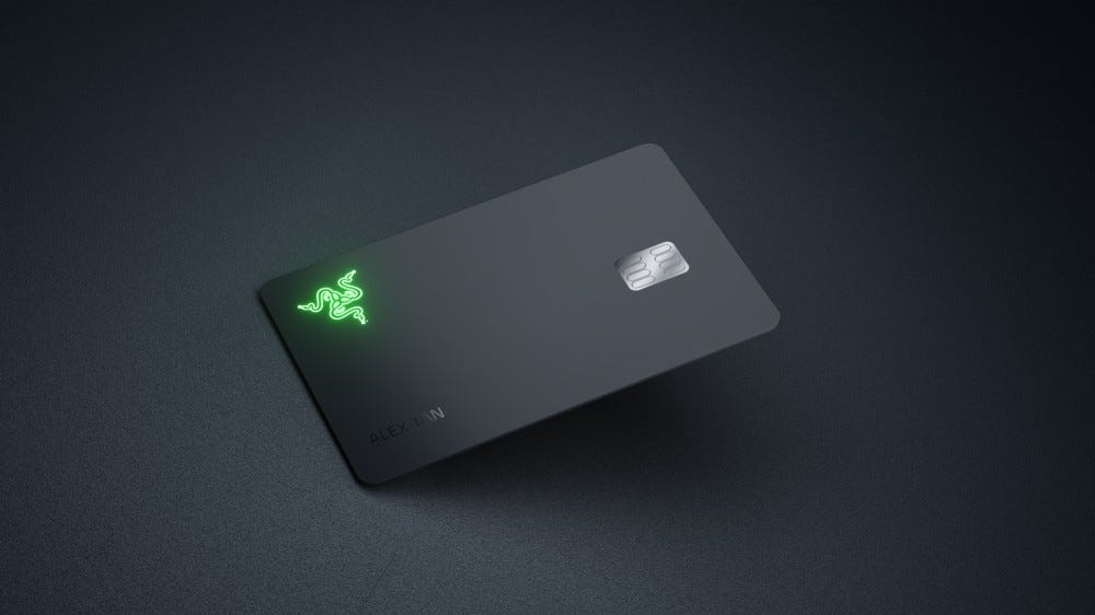 The Razer Card with its glowing green logo