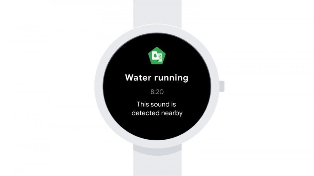 A Wear OS watch with a notification about water running.