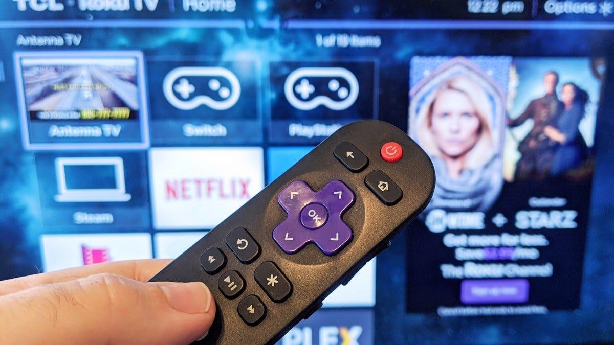 Roku remote and TV