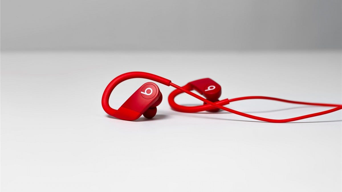 The Powerbeats in red
