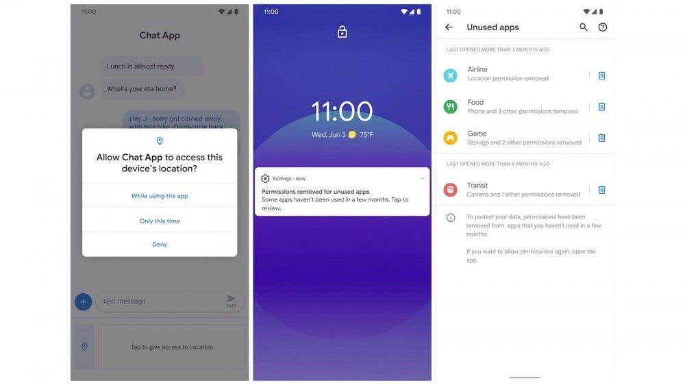 Google lanza Android 11 Beta. Las nuevas pantallas de permisos con acceso único y eliminaciones automáticas.