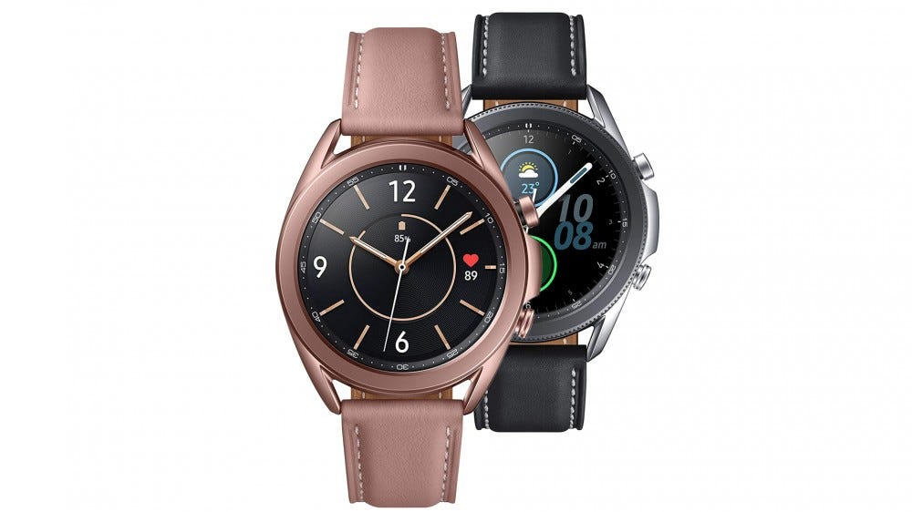 A photo of the Samsumg Galaxy Watch 3 in black and mystical bronze.