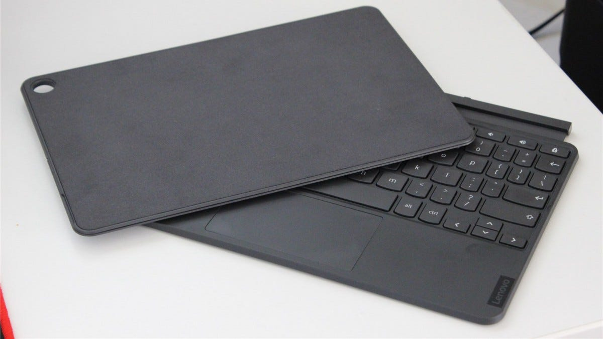 The stand cover and keyboard separate from the tablet