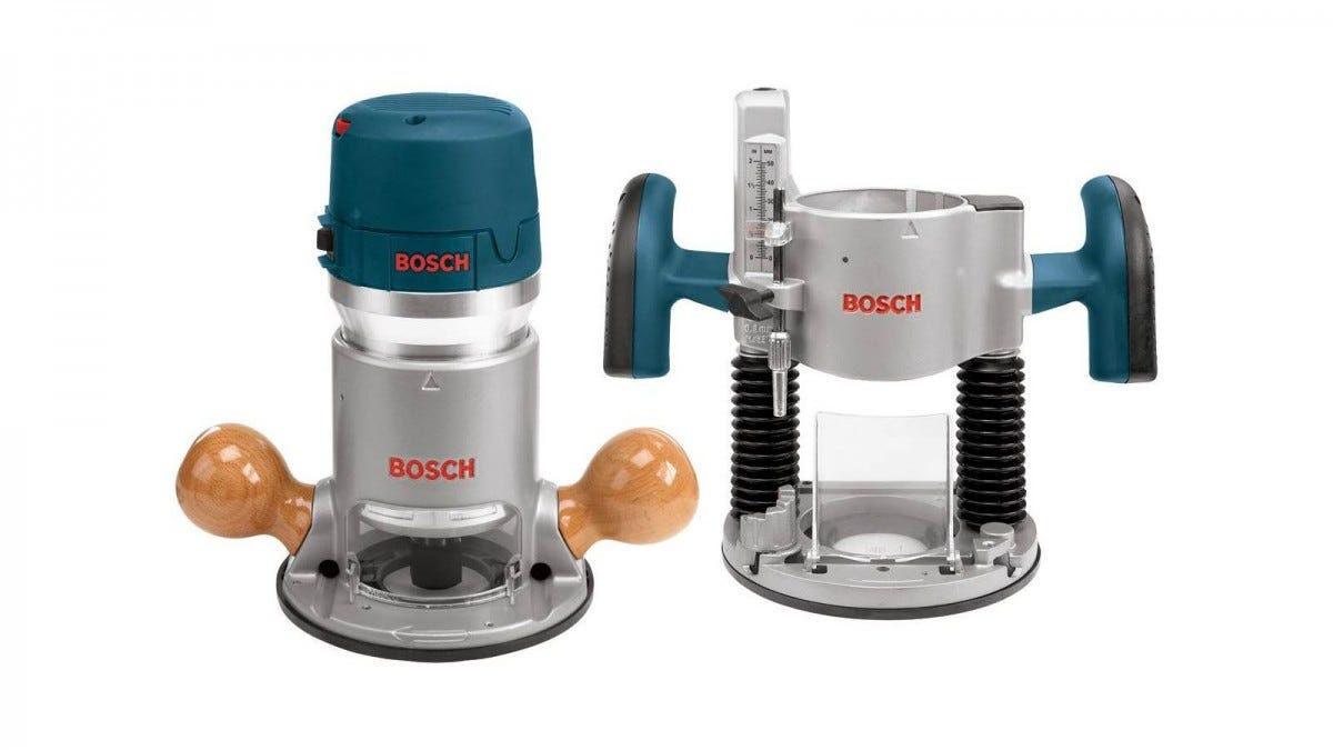 A Bosch 1617EVS next to an optional plunge base.