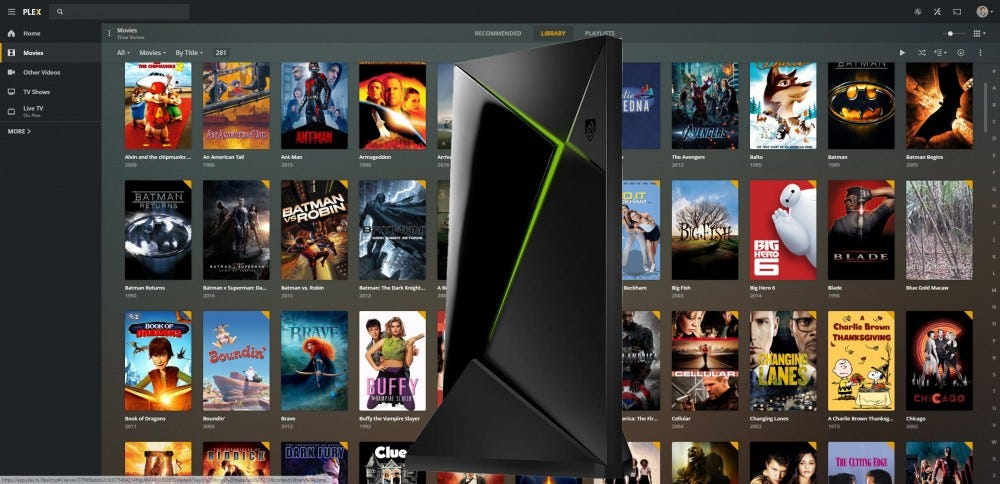 A Nvidia Shield Pro in front of a Plex UI