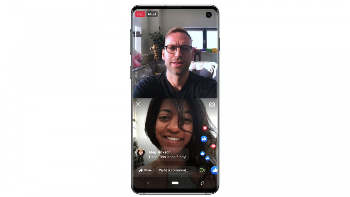 A render of Facebook Live With, the two-person livestreaming option.