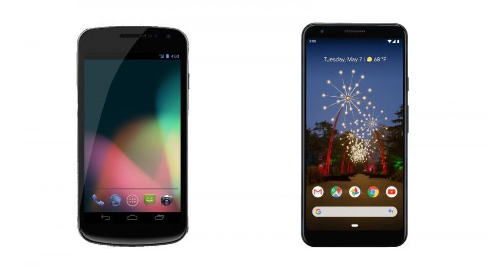 Samsung Galaxy Nexus és Google Pixel 3