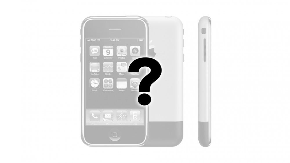 A photo of the original iPhone with a question mark.