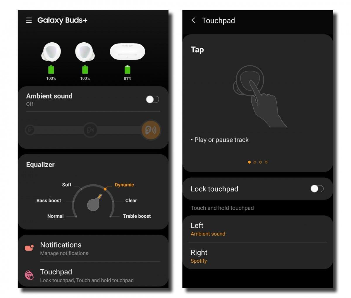 Galaxy Wear app shortcuts.