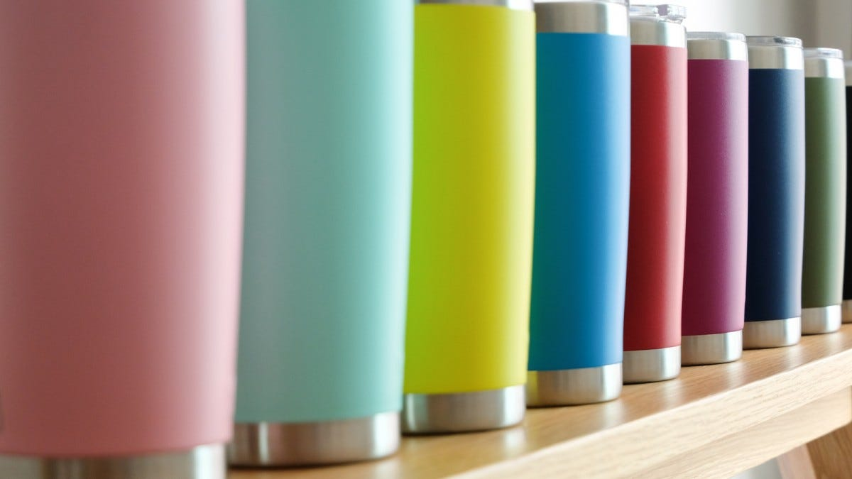 Multiple colored insulated cups.