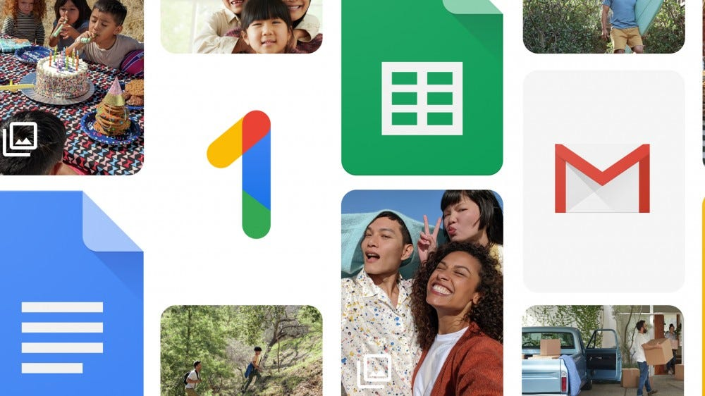 The Google One logo surrounded by pictures and Google Docs logos.