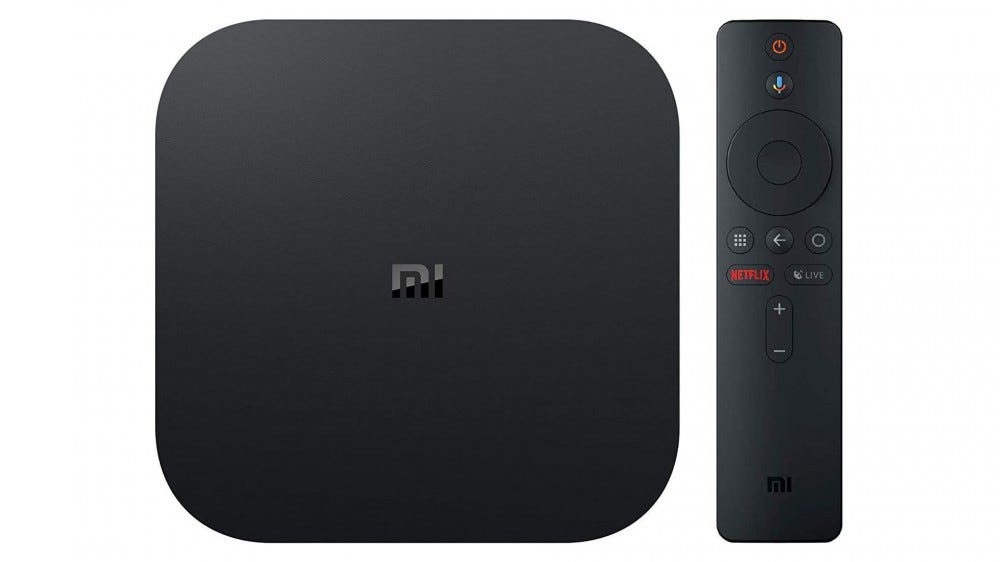 A photo of the Xiaomi Mi Box S streaming device.