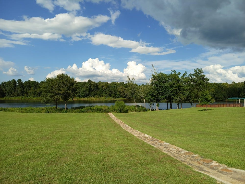 A photo example with green grass, blue sky, and clouds