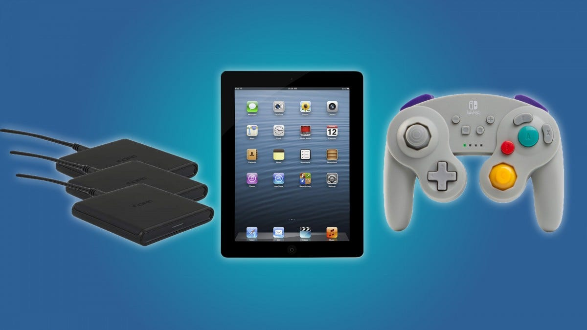 The Incipio Wireless Charger 3-Pack, the iPad, and the GameCube Nintendo Switch Controller