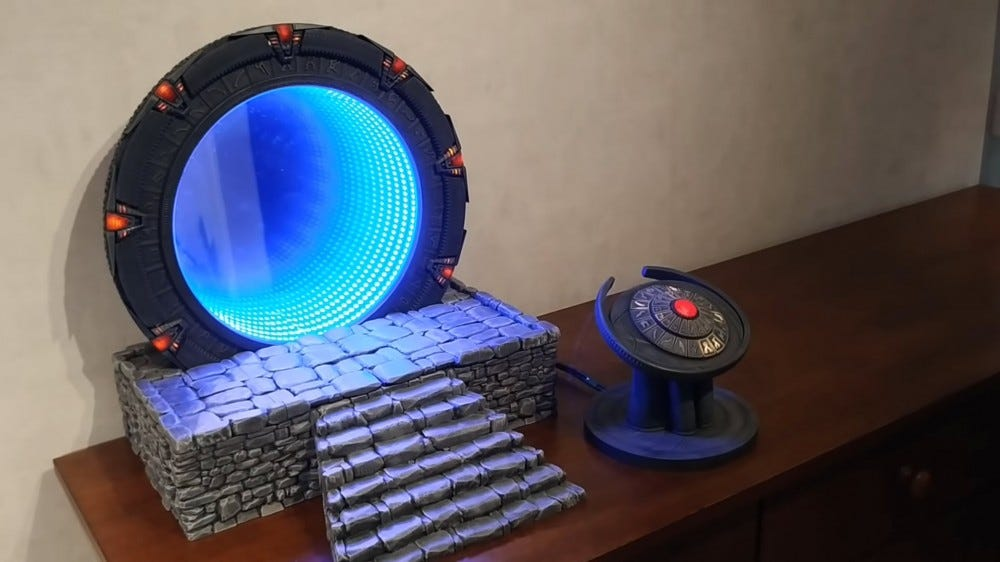 A replica Stargate with a fake wormhole open.