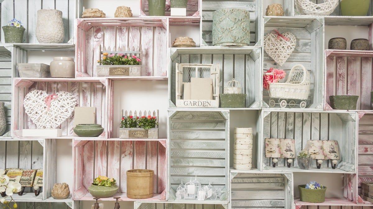 A shelf full of milk crates