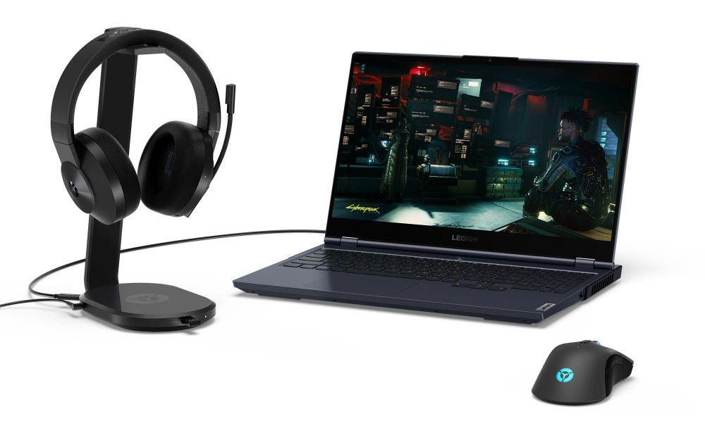 Lenovo Legion S600 charger, with laptop and mouse