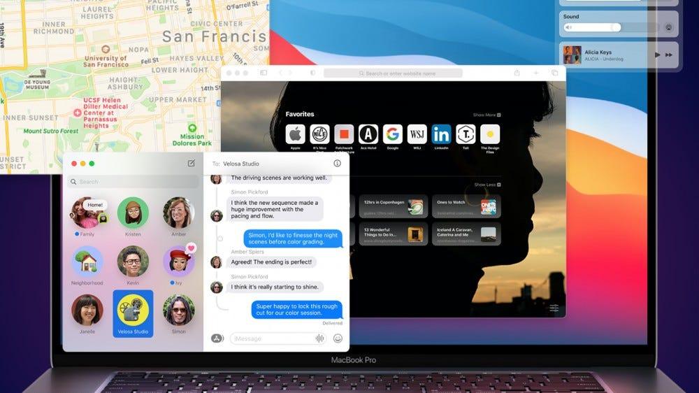 A photo of a MacBook running macOS Big Sur.