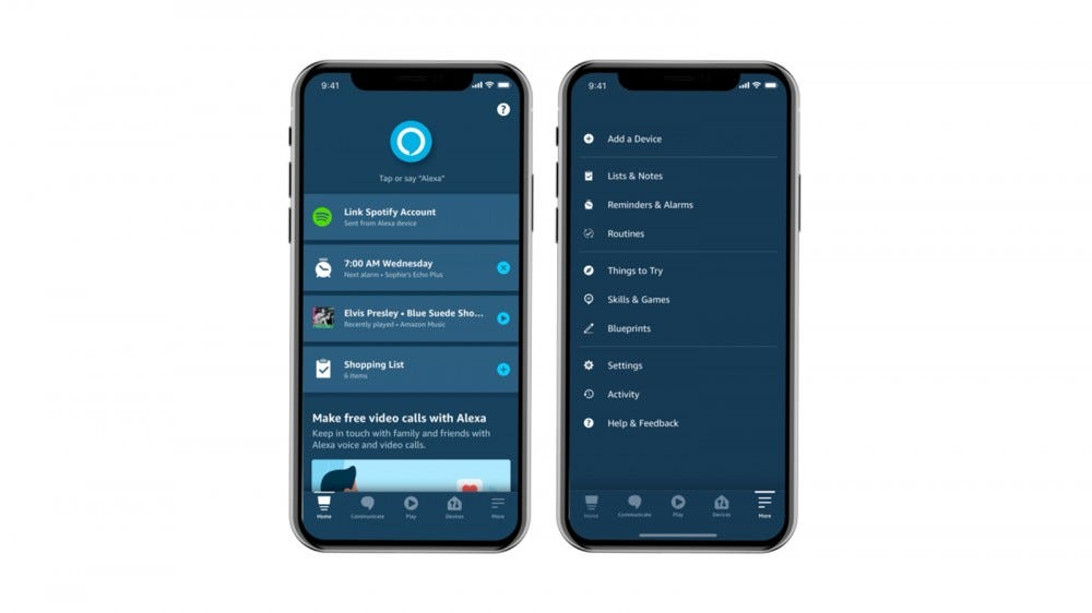 A new redesigned Alexa app with a big blue button near the top.