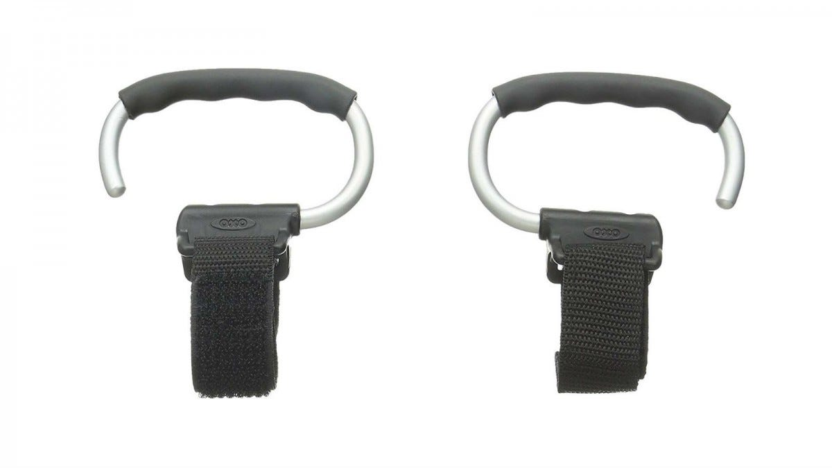A pair of gray OXO Tot Handy Stroller Hooks.