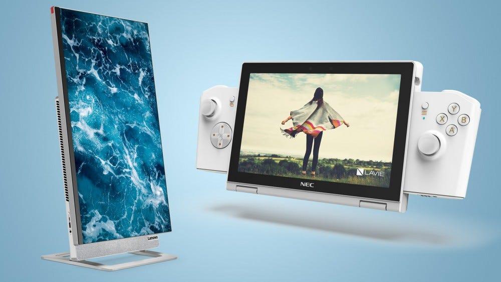 Lenovo Yoga AIO 7 and NEC LAVIE MINI with game controls