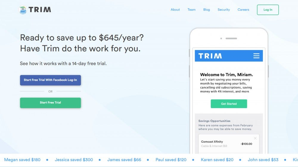 Trim app homepage with features and customer savings amounts listed