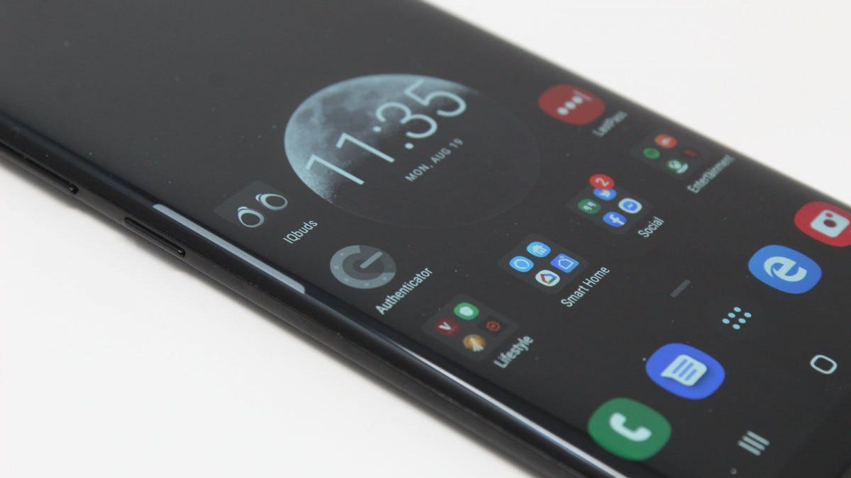 A Samsung Galaxy S8 phone showing curved edges.