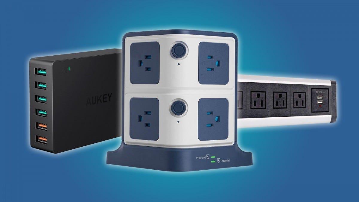 3 Outlet Desk Clamp Power Strip Desktop Desk Mount USB Charging Power Station