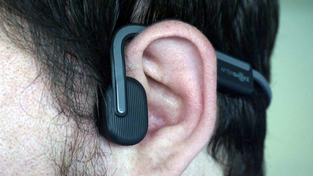 AfterShokz Openmove closeup on ear