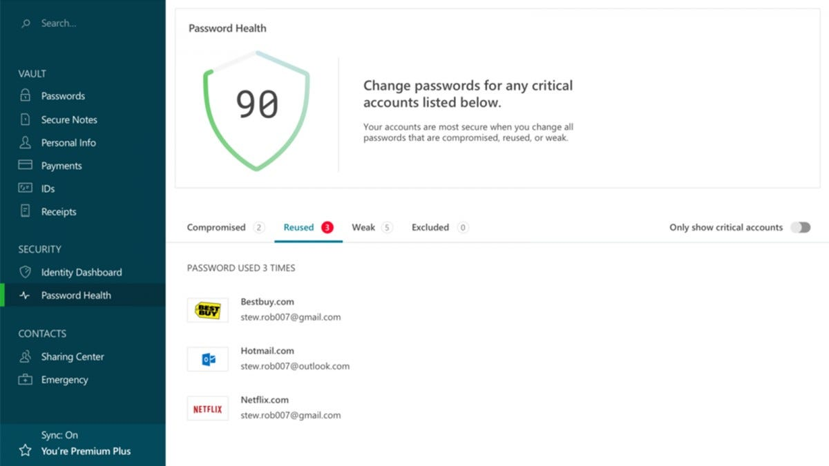 Dashlane password manager showing password health feature.