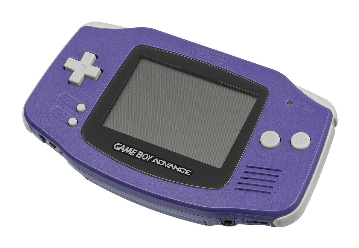 game boy advance, original, purple,
