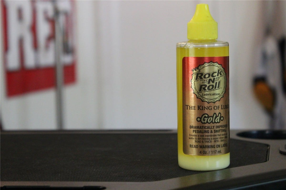 "A bottle of Rock ""N"" Roll Gold Chain Lube."