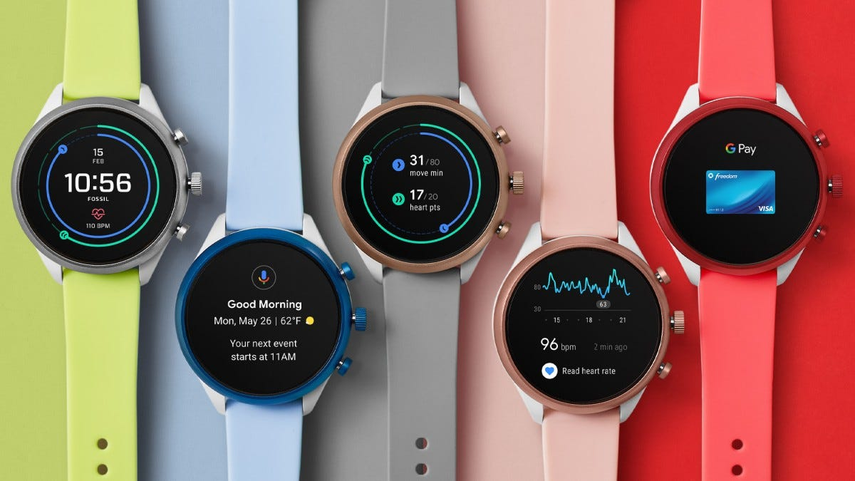 Fossil Wear OS watches in sevearl colors.