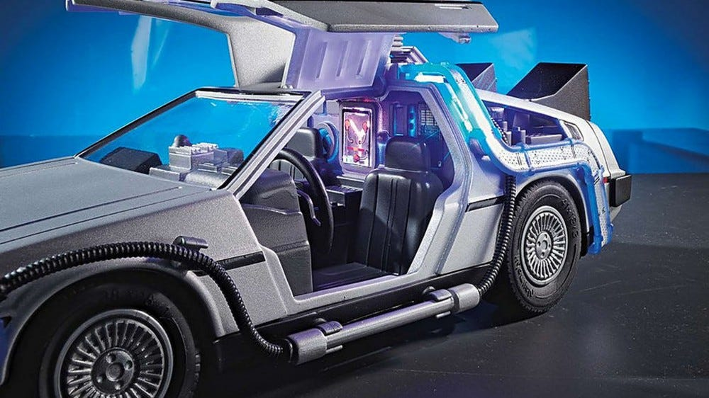 A photo of the light-up DeLorean's interior.