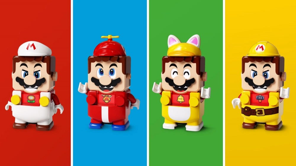 Four alternate looks for LEGO's super-sized Mario figure.
