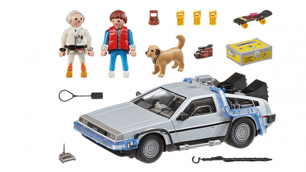 The full Playmobil DeLorean set with Doc and Marty figurines.